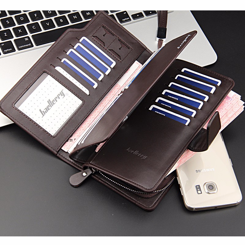 Factory wholesale Big capacity baellerry fashion men's casual long section clutch wallet folded multifunctional phone handbag