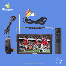 High Definition 9 Inch portable mini tv player analog tv for DVBT DVB-T2 Signal Market
