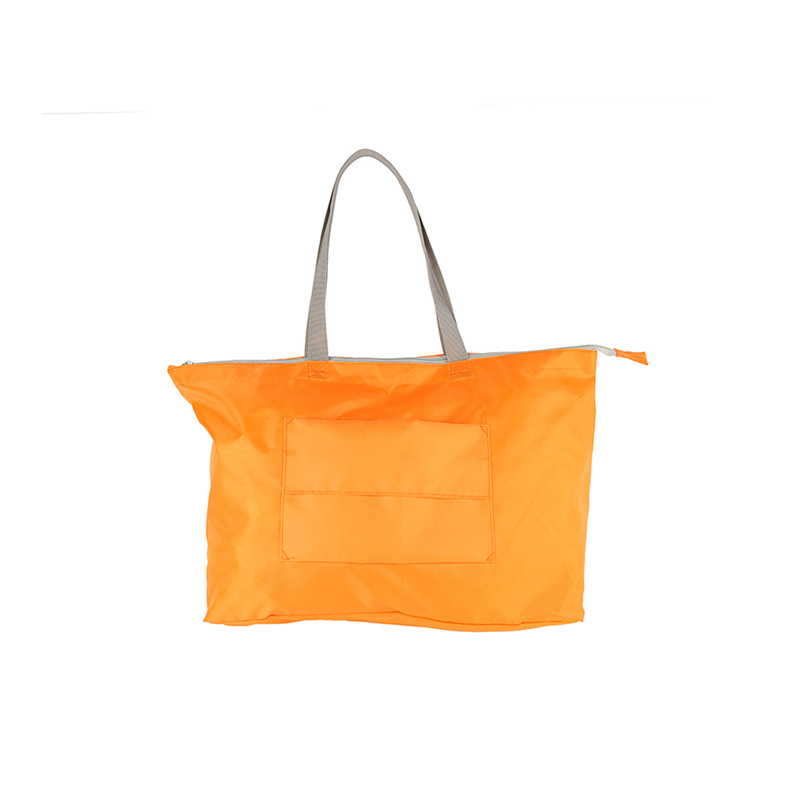 2017 polyester nylon zipper tote shopping foldable bag with pocket outside