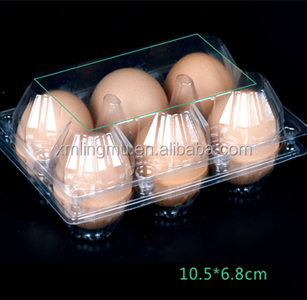 plastic wholesale PET disposable tray egg tary for 6 holes cheap price for sale