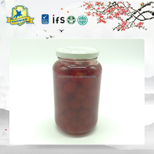 Canned organic cherry in mason jar