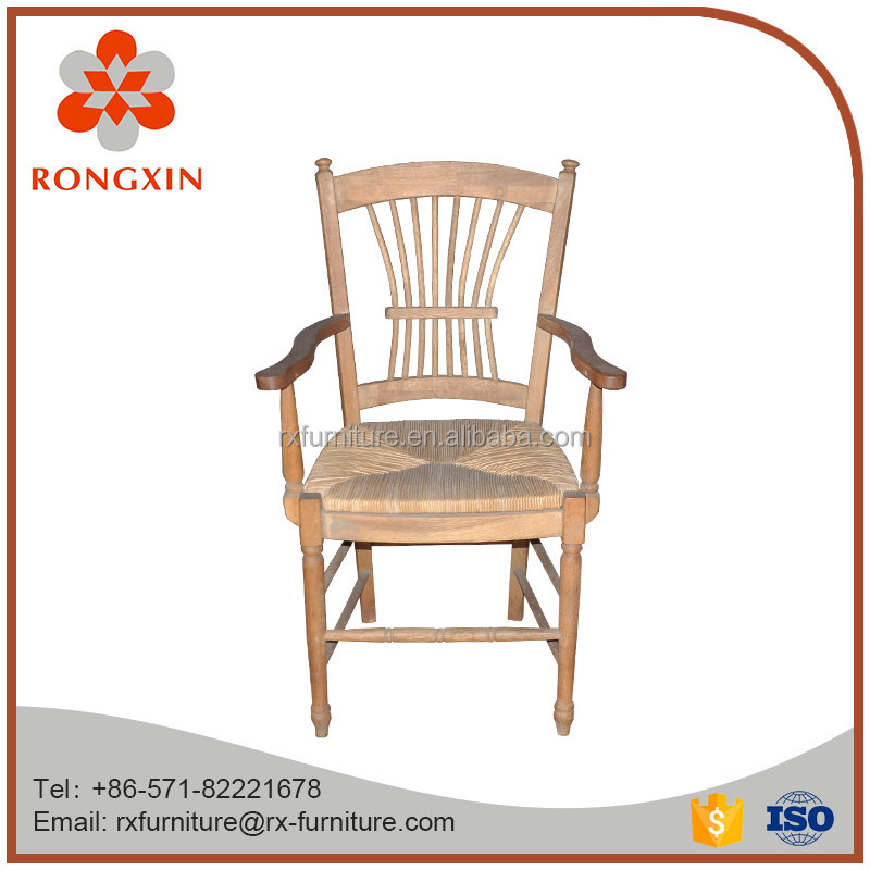 Solid wood wheat seat oak armchair
