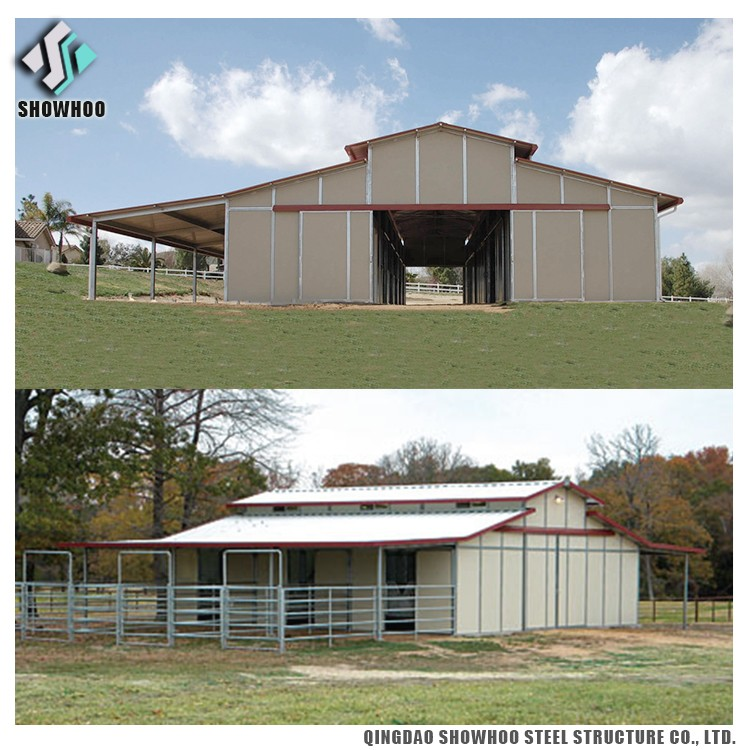 Prefabricated Steel Structure Building Shed Horse Stables Designs