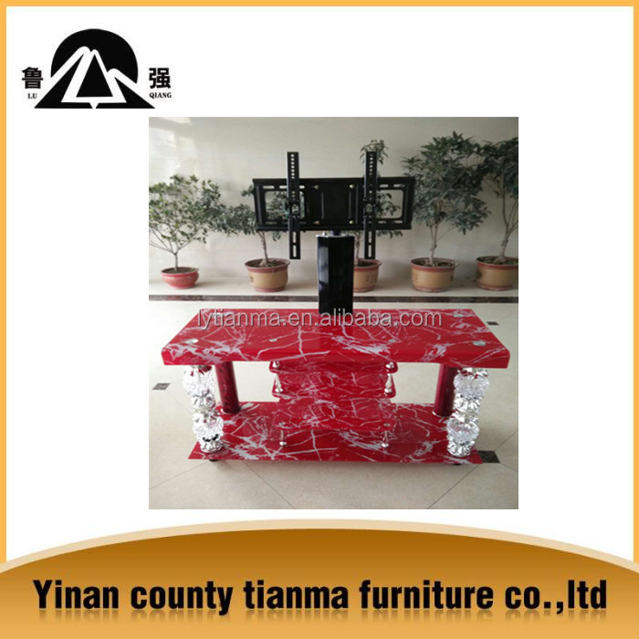 2015 modern design red Glass metal TV stand tempered glass metal tube tv stand