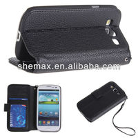 Premium PU Leather Wallet Case and Card Holder With Tire and Magnetic Clip for Samsung Galaxy i9300