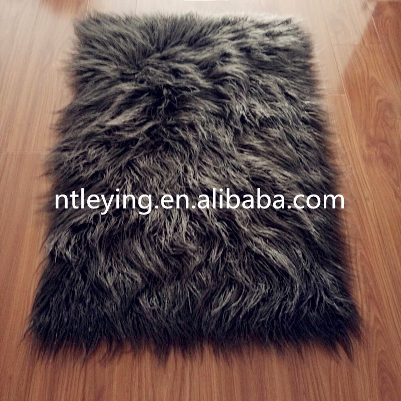 Flokati Mongolian faux fur sheepskin rug home decoration,Area soft furry shaggy rug LYFR007