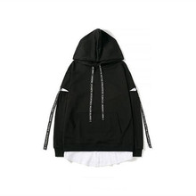 Wholesale Cheap Cotton Blend Plain Black Oversized Hoodies Custom Lacerate Sleeve Pullover Streetwear Hoodie
