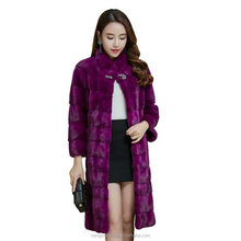 full skin cut stand collar real mink fur coat for ladies