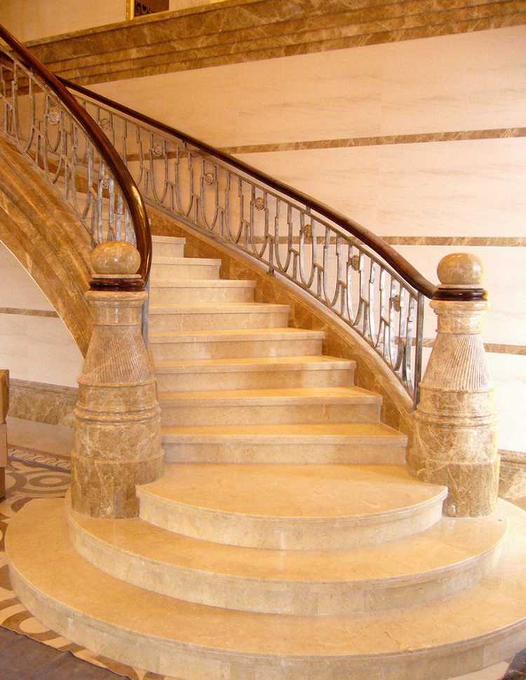 Natural style promotional marble stair with aluminum handrail