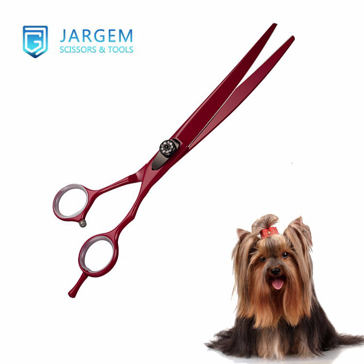 Smart design curved dog grooming scissors red coated pet scissors