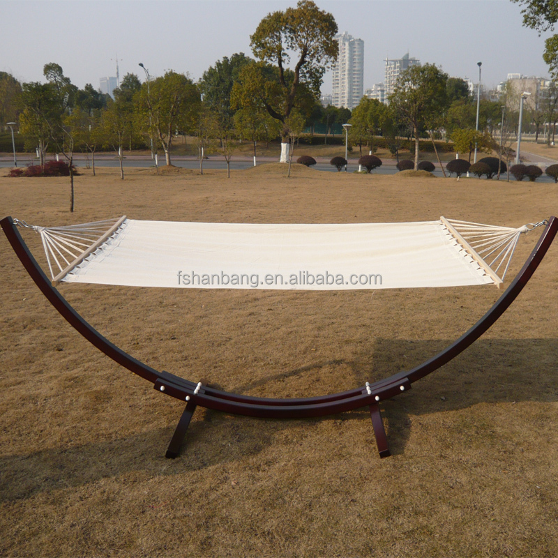 Outdoor Garden Patio Swing Furniture Free Standing wood Curved Arc hammock chair stand Double 2 person bed Backyard Setting