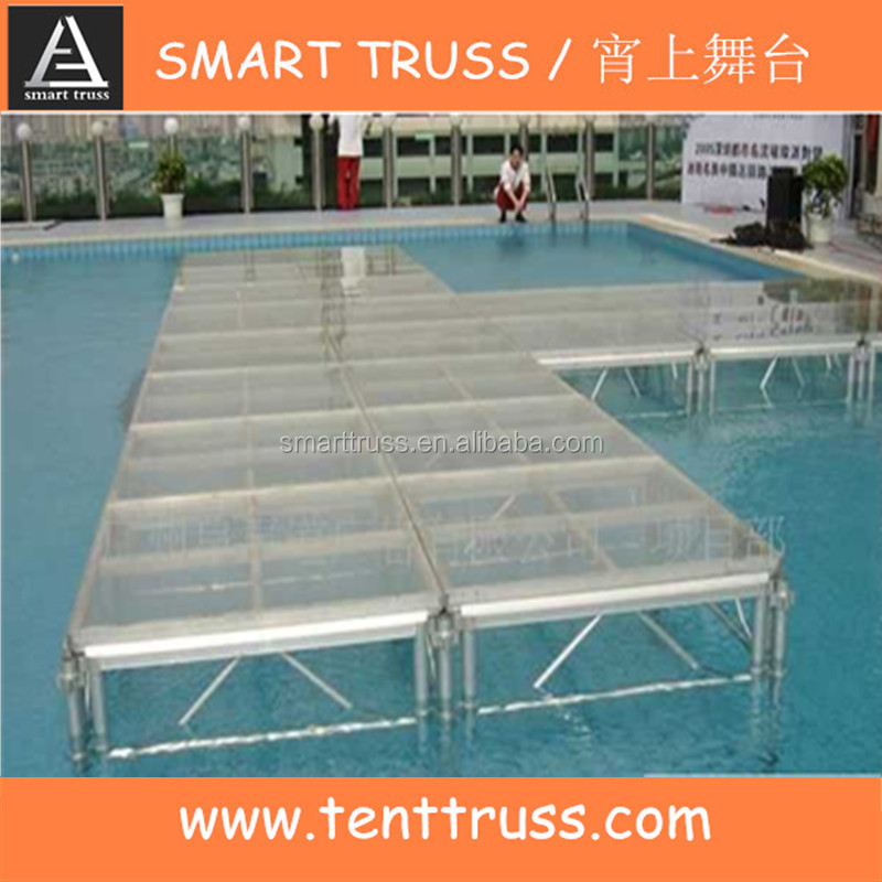 Portable glass stage with pipe and drape for events