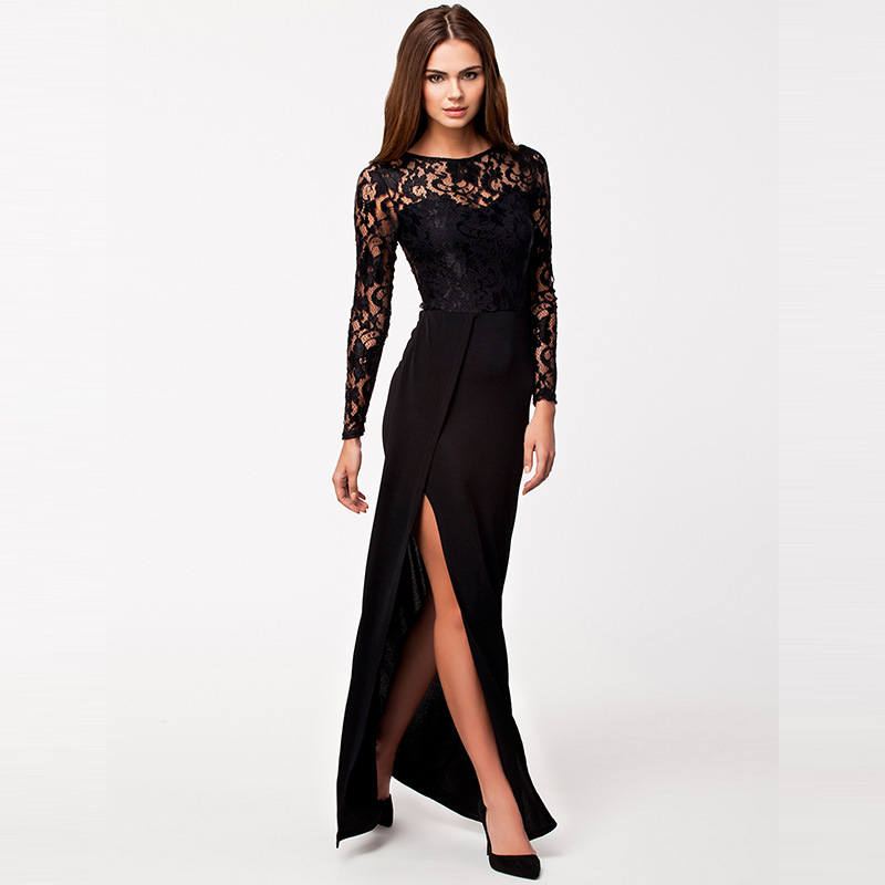 Evening clothes women black sexy side split maxi frocks sleeve lace and polyester matron of honor dresses