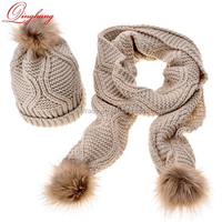 5 Solid Colors Winter Warm Chic Faux Fur Puff Ball Women Comfortable100% Acrylic Knit Hats + Scarf