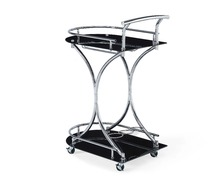 European style popular black glass top with metal frame kitchen trolley