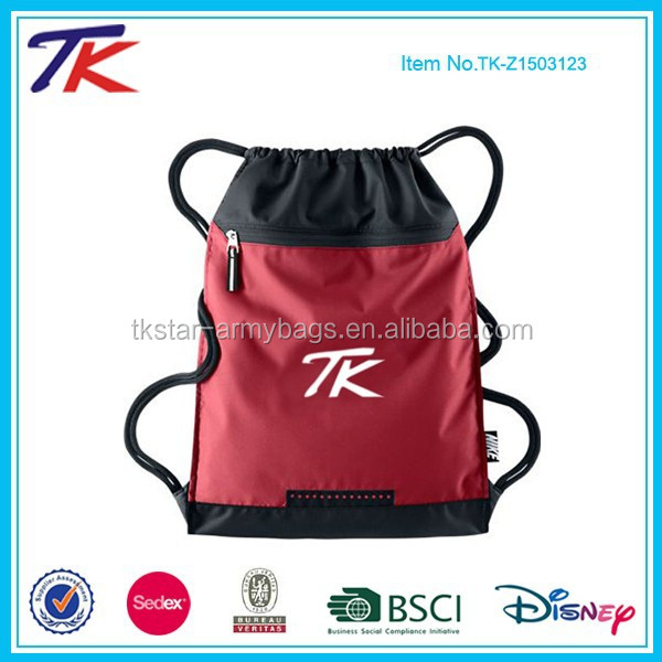 Durable 300D Custom Gym Sack Drawstring Bag with Secure Zip Pocket