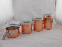 Copper plated tea Jar, 4-Piece Stainless Steel Clamp Canister Set with Clear Lid