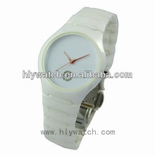 Blank dial custom made unisex quartz watch 3atm simple white ceramic watch with date best lover gift on special couples holidays