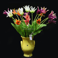 Latest design single silk artificial flower tulips for wedding decoration artificial white tulip silk flower with top quality