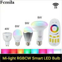 AC110 220V 86-265V Mi.Light Led Bulb Dimmable GU10 E27 E14 4W 5W 6W 9W Wireless MiLight RGBW Led Bulbs 2.4G RGBWW RGBW Led Lamp
