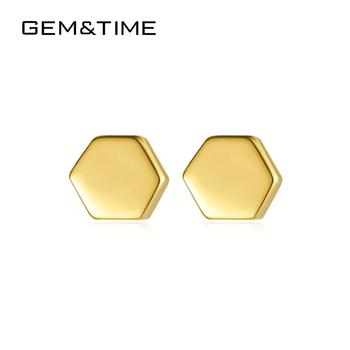 GEM&TIME Honeycomb Geometric 14K Real K Gold Women Stud Earrings Cute Korean Solid Gold Earring