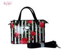 2016 Fashion Ladies PU/ Leather Handbag with Rose in Stripe Print
