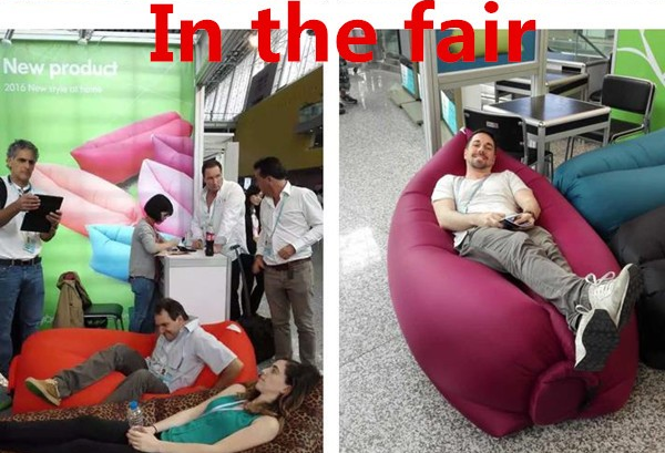 Inflatable bean bag Air Sleep Sofa Couch Portable Furniture Sleeping Lounger Imitate Nylon External Internal PVC