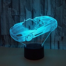 3D Sports Car LED Lamp 7 Colors Changing kids gift