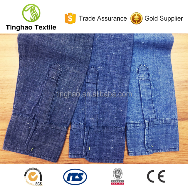2016 shirts material 100% cotton slub denim fabrics