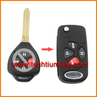 4 buttons Flip folding remote key shell case cover for Toyota Camry