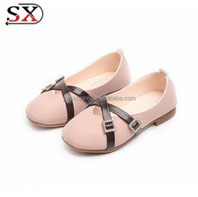 China supplier Wholesale Cross PU Girl Dress Rubber Sole Kids Shoes