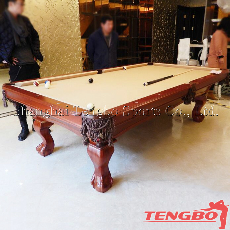 Solid wood and natural slate low price carving pool table on sale