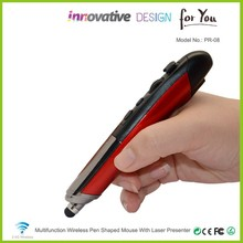 High-end compact best ergonomic 2.4G wireless pc computer pen mouse with laser pointer for business person PR-08