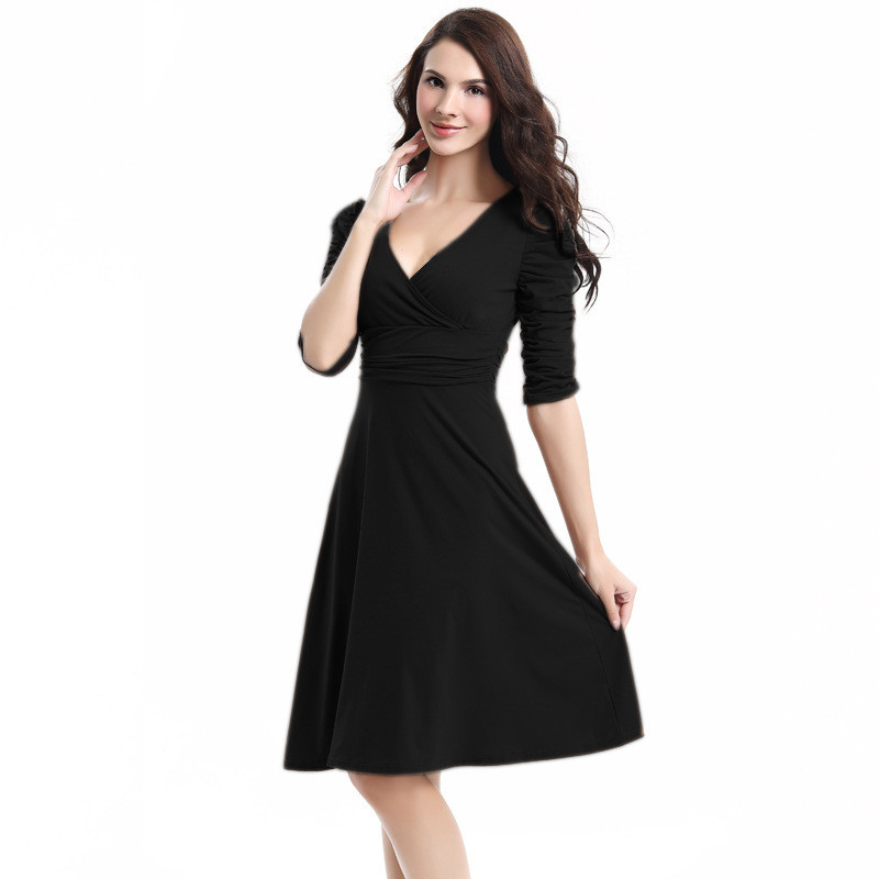 V Neckline Long Sleeve Cotton Woman Sexy Maxi Dress
