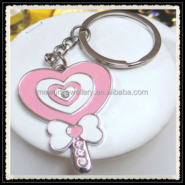 Heart key shape pink enamel paint keyring keychain from China factory butterfly keychain murah