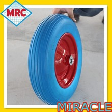 Small Solid Flat free PU Foam Filled Wheelbarrow Wheel And Tyre 3.50-8