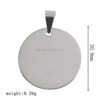 Nickle Free Lead Free Free Shipping 316L Stainless Steel Dog Tag Custom Engraved Blank Round Pendant With Bail Clasp