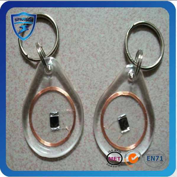 Passive Epoxy Rfid clear plastic key tags with key ring