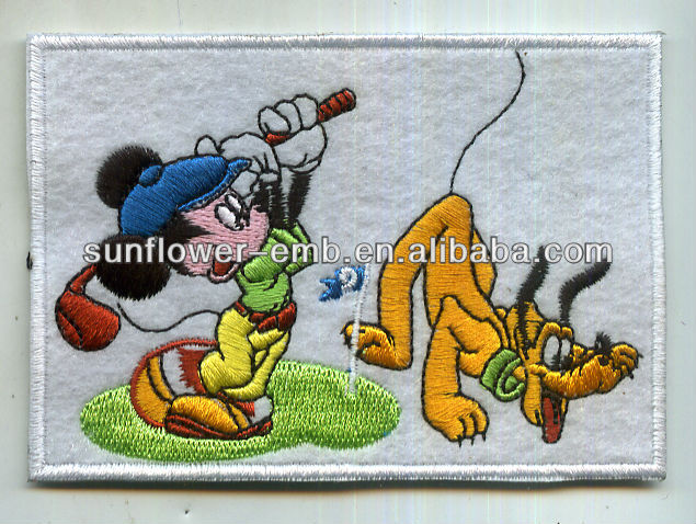 Goofy and Mickey mouse embroidery patch with laser cut border
