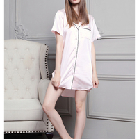 Wholesale Short Sleeve Women Front Button Silk Satin Nightshirt with piping trims