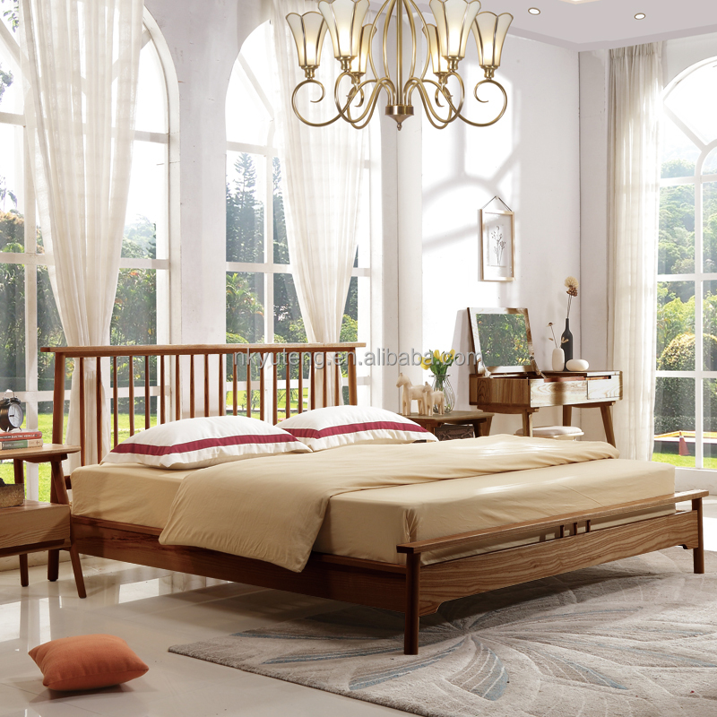 Brand new Yuteng solid wood modern and simple double bed compared with Pakistan wooden bed