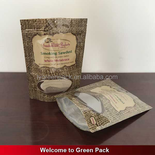 stand up plastic bag with clear window and zipper for packaging cereal food