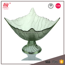 Hot sale daily use items lead free fancy green glass fruit plate