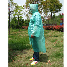 Disposable Rain Coat Poncho Raincoat with Hood Sleeves