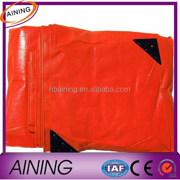 China Heavy Duty Orange Tarpaulin with Corner Reinforced Triangle Plastic Sheet