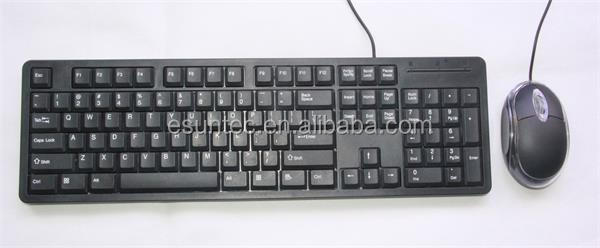 Stock type computer accessory wired slim usb keyboard and mouse combo, KMC-003