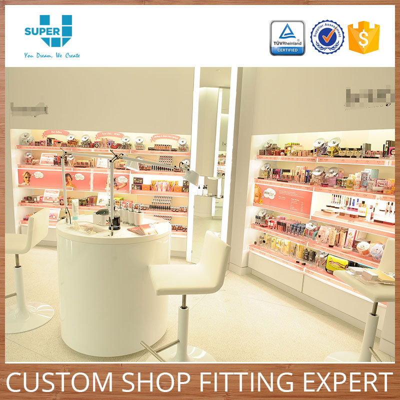 Low Price Custom Tailor Made Beauty Salon Furniture Makeup Stand with Lights