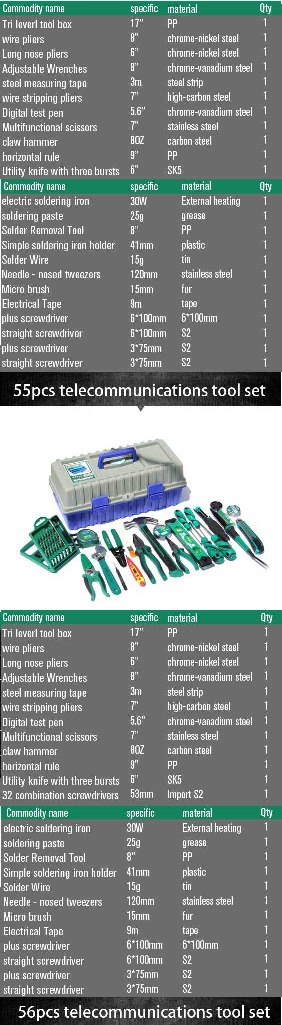 LAOA 23pcs 55pcs 56pcs home use 3 layers electrician tool set with plastic tool box telecommunications household tool set