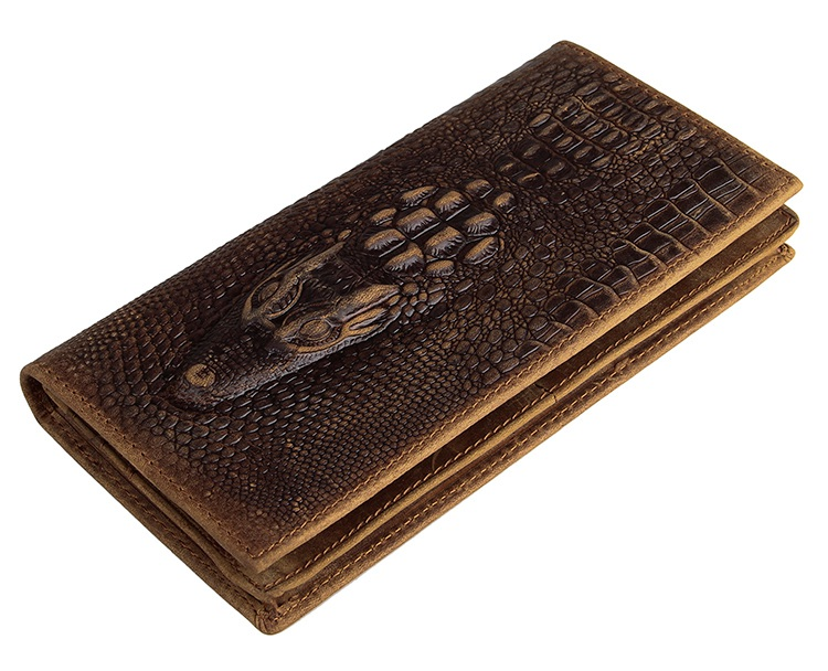 Genuine Leather Crocodile Pattern Diary Card Holder Long Multiple Men's Wallet 8030C