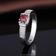 Fashion S925 Sterling Silver Created Ruby Cubic Zirconia Promise Ring
